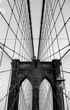 Graphic perfection. The Brooklyn Bridge, one of NYC's finest landmarks.