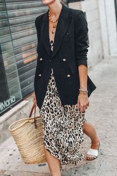 Straw Basket Bags paired with leopard print dress and black blazer #bags
