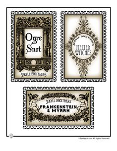 Printable Halloween Labels for Bottles and Potions Small Halloween Drink Labels – Fantasy Jr.