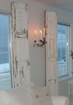 Shabby Chic shutters!!!! kinda creepy lighting/chandelier