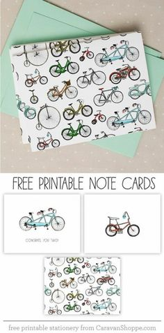 Free Bicycle Notecards from Caravan Shoppe