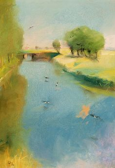 Lesser Ury - Canal (1897)  Source: colourthysoul Lesser Ury was a German Impressionist painter and printmaker, associated with the Düsseldorf school of painting. He was born Leo Lesser Ury in Birnbaum, the son of a baker whose death in 1872 was followed by the Ury family's move to Berlin.