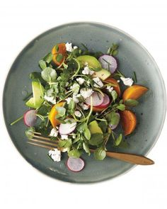 Roasted Golden-Beet, Avocado, and Watercress Salad Recipe