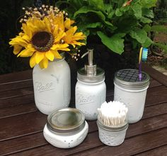 Mason Jar Soap Dispenser Bath Set - Farm House Decor on Etsy, $58.00