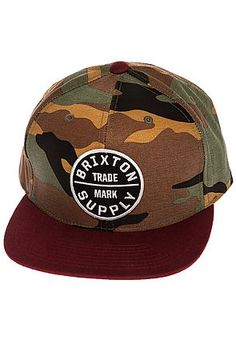 The Oath III Snapback Hat in Camo and Cardinal by Brixton