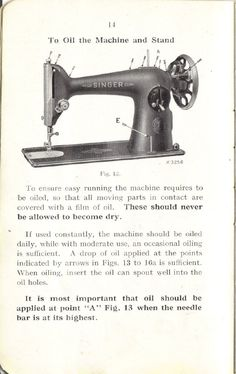 to oil the machine and stand (singer 201k).