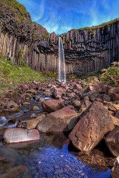 Svartifoss falls in Skaftafell National Park, Iceland