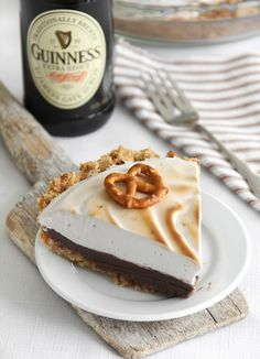 Guiness chocolate pie with pretzel/graham crust and guiness meringue