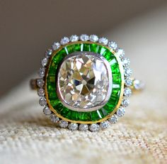 I'll have to find a costume version of this one.  // Diamond Demantoid 5.5ct. RETRO Cluster Ring