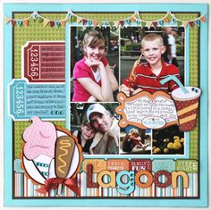 Summertime is the perfect time to visit the theme park! This is a great layout to help capture those memories! Made with Cricut and County Fair Cartridge #Cricut