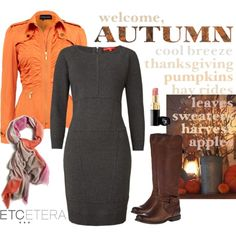 """""""Etcetera: Knit charcoal dress is perfect with rich fall colors."""" by etcetera-nyc on Polyvore"""