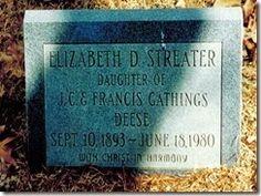 Elizabeth Deese Streater Tombstone #genealogy #familyhistory