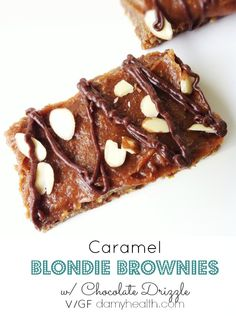 Caramel Blondie Brownies w/ Chocolate Drizzle (Raw/Vegan) Grab a cup ...