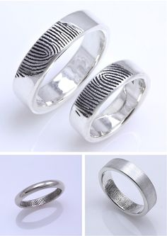His wedding band with her fingerprint and her wedding band with his fingerprint