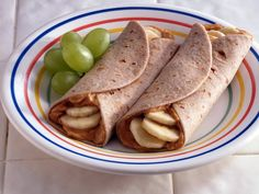 Healthy and quick! Peanut Butter & Banana wraps.  Yum!