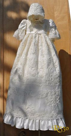 Victorian Silk  Christening Gown/Lace Baptism Gown/White Couture Christening Gown/Heirloom Gown