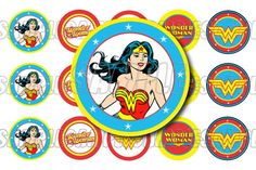 INSTANT DOWNLOAD Wonder Woman Bottle Cap Image Sheet