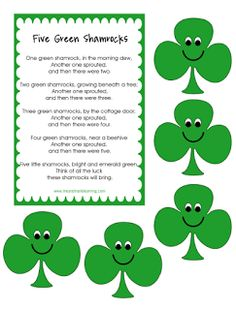 "FREE LESSON - ""Five Green Shamrocks"" is great for Pre-Kindergarten and Kindergarten students.  - Go to The Best of Teacher Entrepreneurs for this and hundreds of free lessons.   #FreeLesson   #TeachersPayTeachers   #TPT   #St.Patrick'sDay   http://www.thebestofteacherentrepreneurs.net/2013/03/free-misc-lesson-five-green-shamrocks.html"