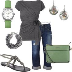 Green and grey grey capris, matching colors clothes, casual capri outfits, color combos, summer outfits, color combinations, casual outfits, shoe, shirt