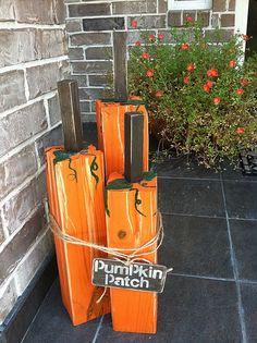 2x4's painted as pumpkins