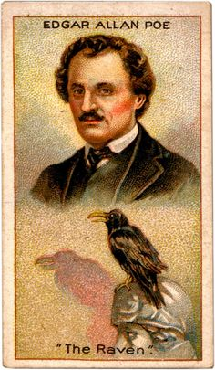Millhoff Cigarette card, Men of Genius series,  Edgar Allan Poe - The Raven, 1924