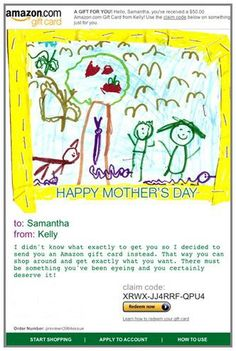 Amazon Gift Card - E-mail - Happy Mother's Day - Kid Art $50.00