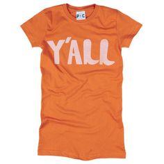 Women's Y'all Tee, Women's Y'all Orange Tee at PalmerCash.com