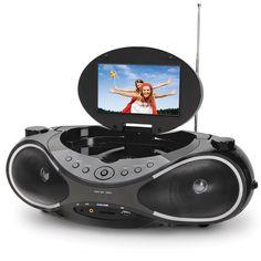 "The Video Boombox - Hammacher Schlemmer - AM/FM/CD plus a 7"" Flat Screen digital television with DVD player."