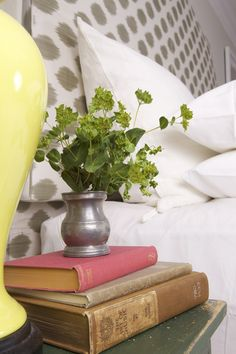 #WatchandPin  #DearGenevieve  Plant in metal vase, old books on end-table, part of the design transformation.  (Air Date:  Sept 21 5:30pm)