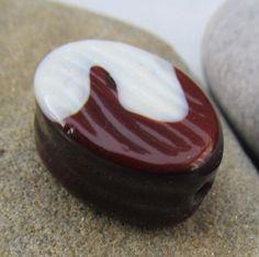 Chocolate swirl bead SRA lampwork *kitzbitz*