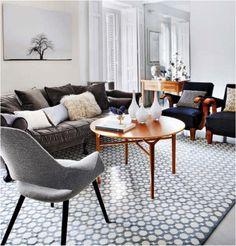 Grey mid-century modern living room