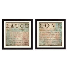 2 Piece Love & Laugh Framed Wall Art Set #home #decor #picture #gallery #quotes #sayings #inspiration #motivation #life