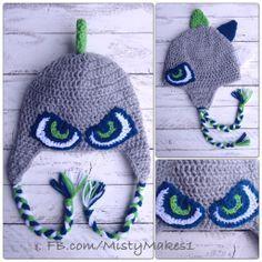 seahawks crochet hat pattern   Crochet Seahawks dinosaur hat by MistyMakes1. www.facebook.com ...