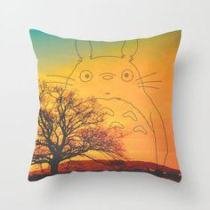 decor, sunsets, totoro pillow, pillow covers, dots, pillows, sunset totoro