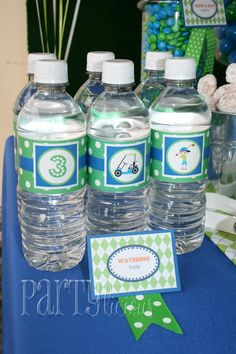 golf party birthday parti, boy parti, golf parti, birthday parte, water bottl, drink idea, golf birthday, parti idea, water idea