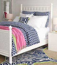 Lilly Pulitzer, navy & white bedding