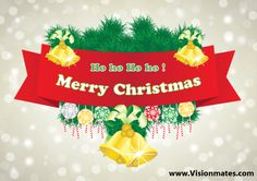 Christmas design with ornament decoration including Christmas balls, bells and red Merry Christmas sheet. Premium Christmas banner design in Ai.