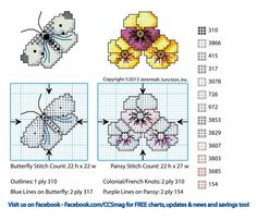 Free Cross Stitch Butterfly and Pansy Pattern
