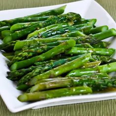 Barely-Cooked Asparagus with Lemon-Mustard Vinaigrette; love this recipe!  [from Kalyn's Kitchen] #LowCarb  #Paleo  #GlutenFree