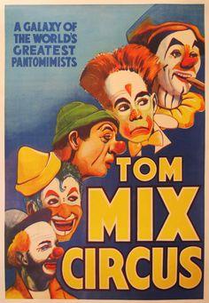 Original 1938 Tom Mix Circus Poster RARE Linen Backed Cigar Smoking Clowns Cool | eBay
