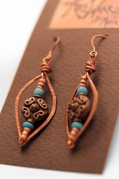 Copper Hammered Wire earrings~<3