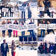 Cutest Proposal! she was driving through campus and began seeing all her friends/family holding signs leading her to him! When she turned around they were all in order with signs of the events, dates and verses applicable to their relationship! She was completely surprised! What a wonderful idea!
