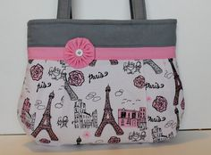 Pink and Grey Paris Purse