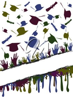 iCLIPART - Grunge Background Clip Art Illustration of a Group of Graduates Throwing their Mortar Boards in the Air