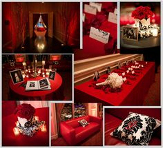 Red and black decor accents for cocktail reception.