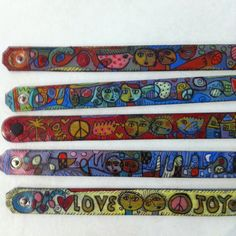 Hand painted leather cuffs