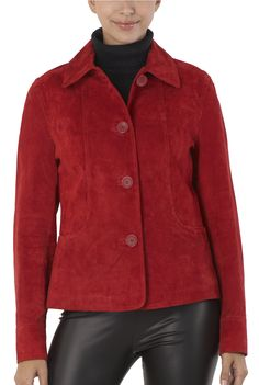 "Luxury Lane often calls their suede as the ""velvet of leather.""  This BGSD Women's Classic Suede Leather Shirt Jacket will keep you warm and trendy in style.  $99.99 http://www.luxurylane.com/415-109828-red.html"