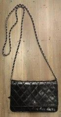 """Chanel Black Designer Handbag """"Wallet on a Chain"""" #chanel #designer #couture #walletonachain #quiltedleather #cc"""
