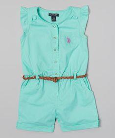 Look what I found on #zulily! U.S. Polo Assn. Frozen Aqua Angel-Sleeve Romper - Infant, Toddler & Girls by U.S. Polo Assn. #zulilyfinds