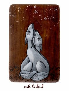 Starstruck // Fox Acrylic Painting on Wood by Ash Lethal on Etsy $36.50